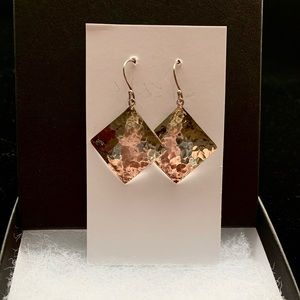 Hammered sterling diamond earrings.